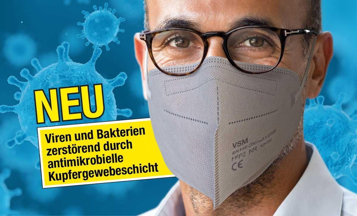 5-lagige FFP2-Maske mit integriertem Viren und Bakterien zerstörenden Kupfergewebe